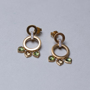 Vintage Double Circle Stud Earrings with Diamonds and Heart Stones