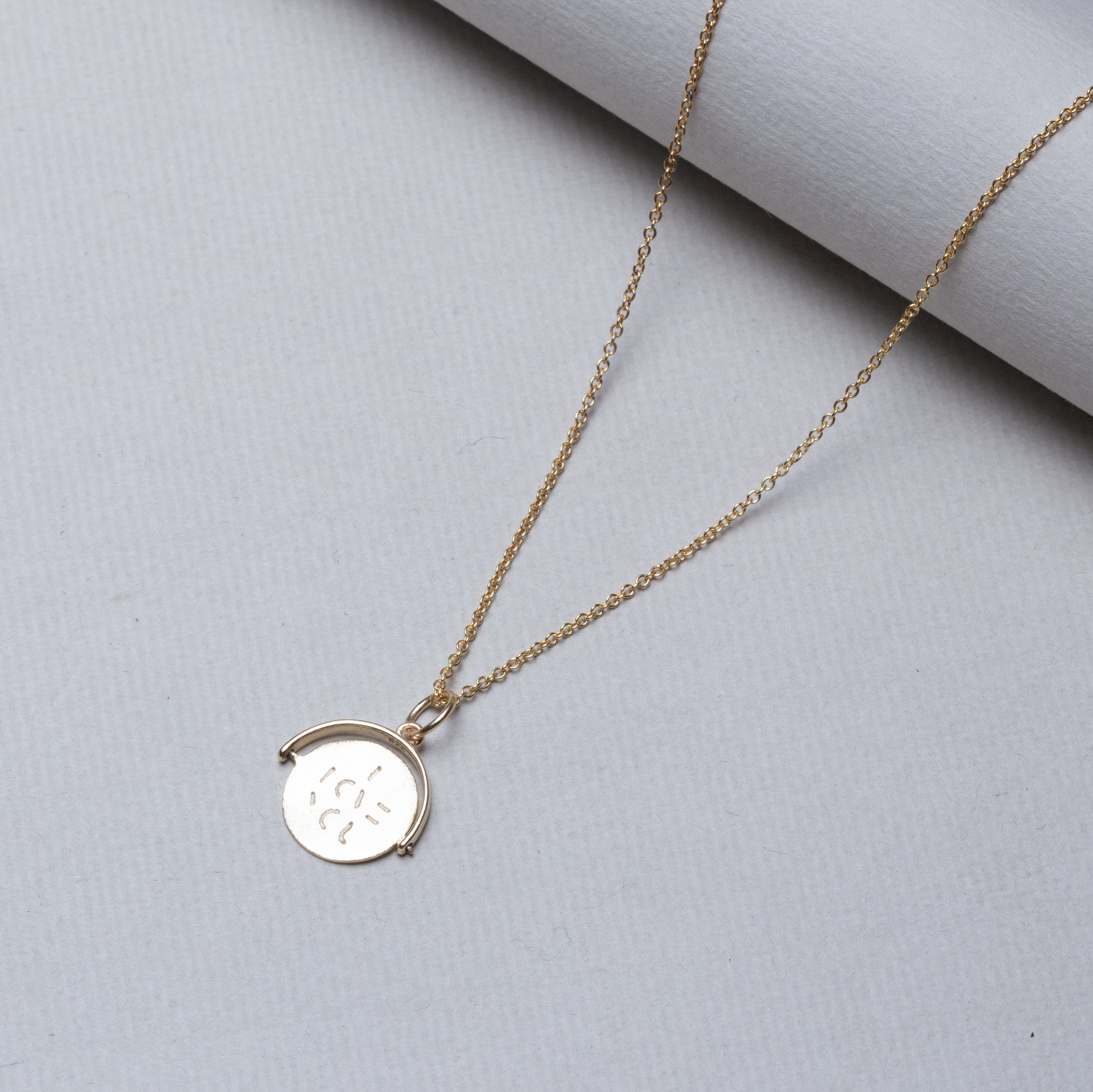 Gold Spinning I Love You Necklace