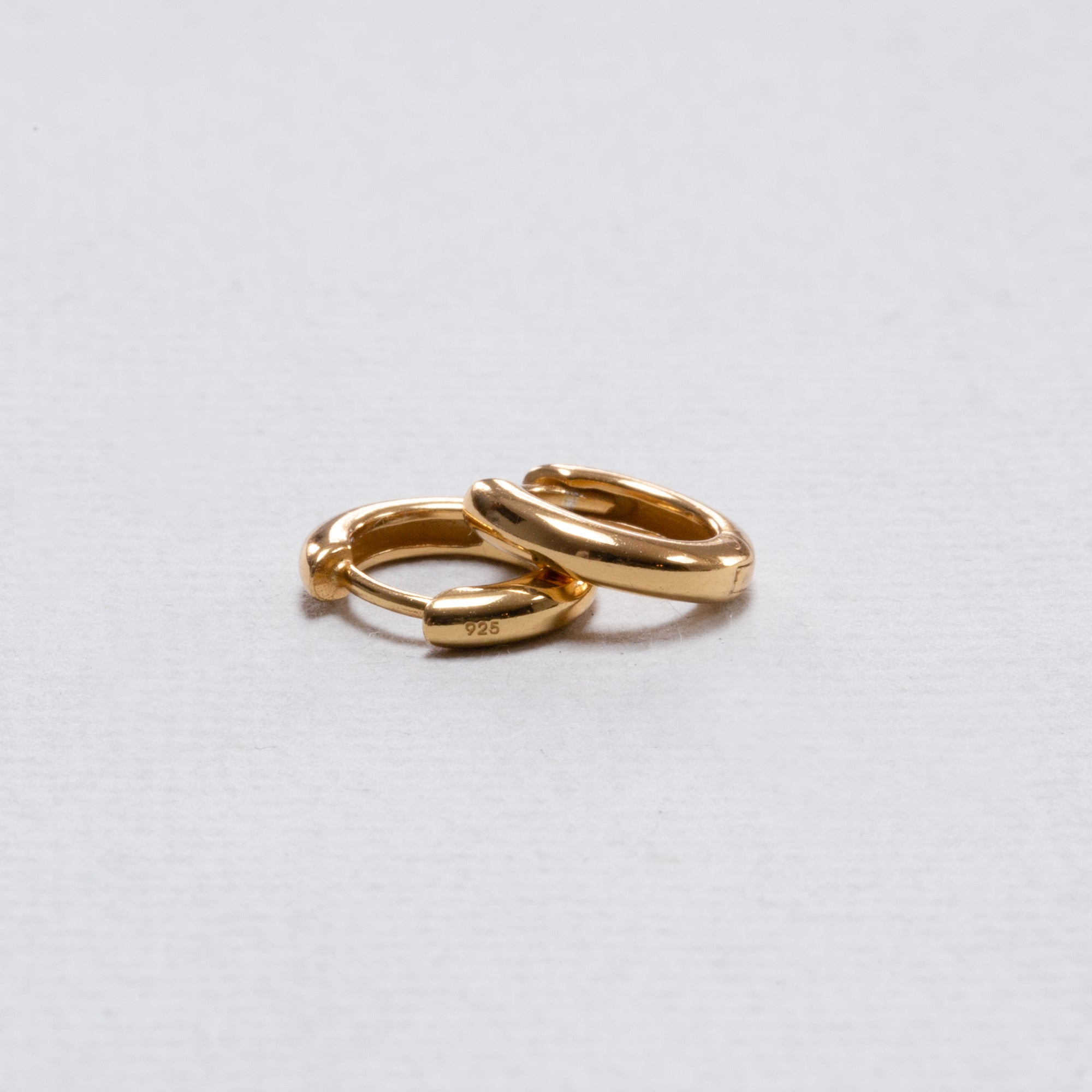 Thin Gold-plated Silver Huggie Hoops