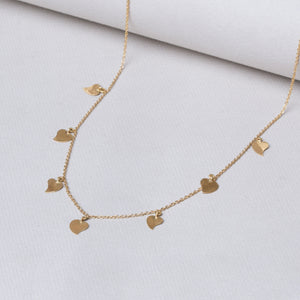 Gold Garland Necklace with Hearts
