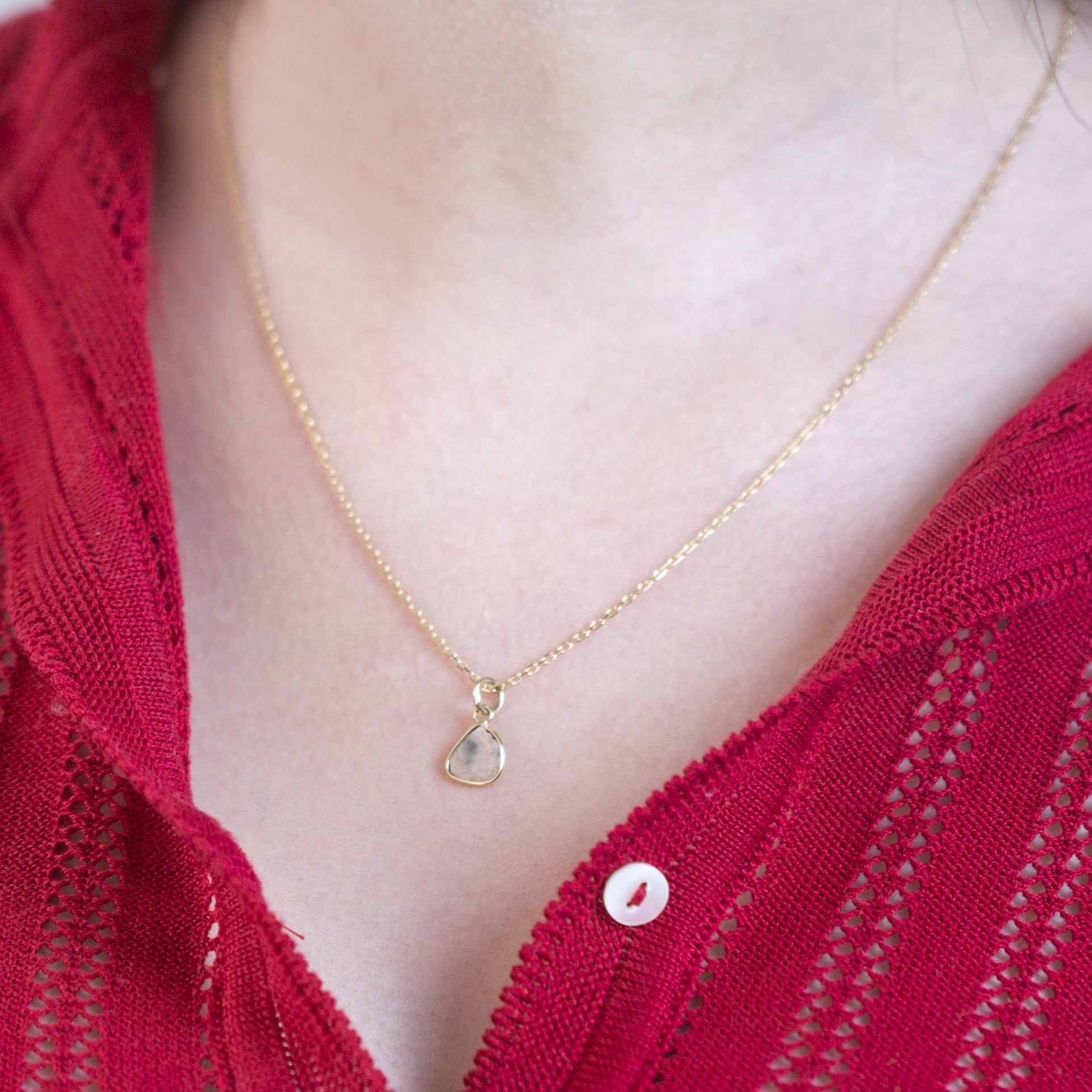 Diamond Slice Pendant Necklace