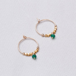 Gold Hoops with Green Onyx and Metal Beads