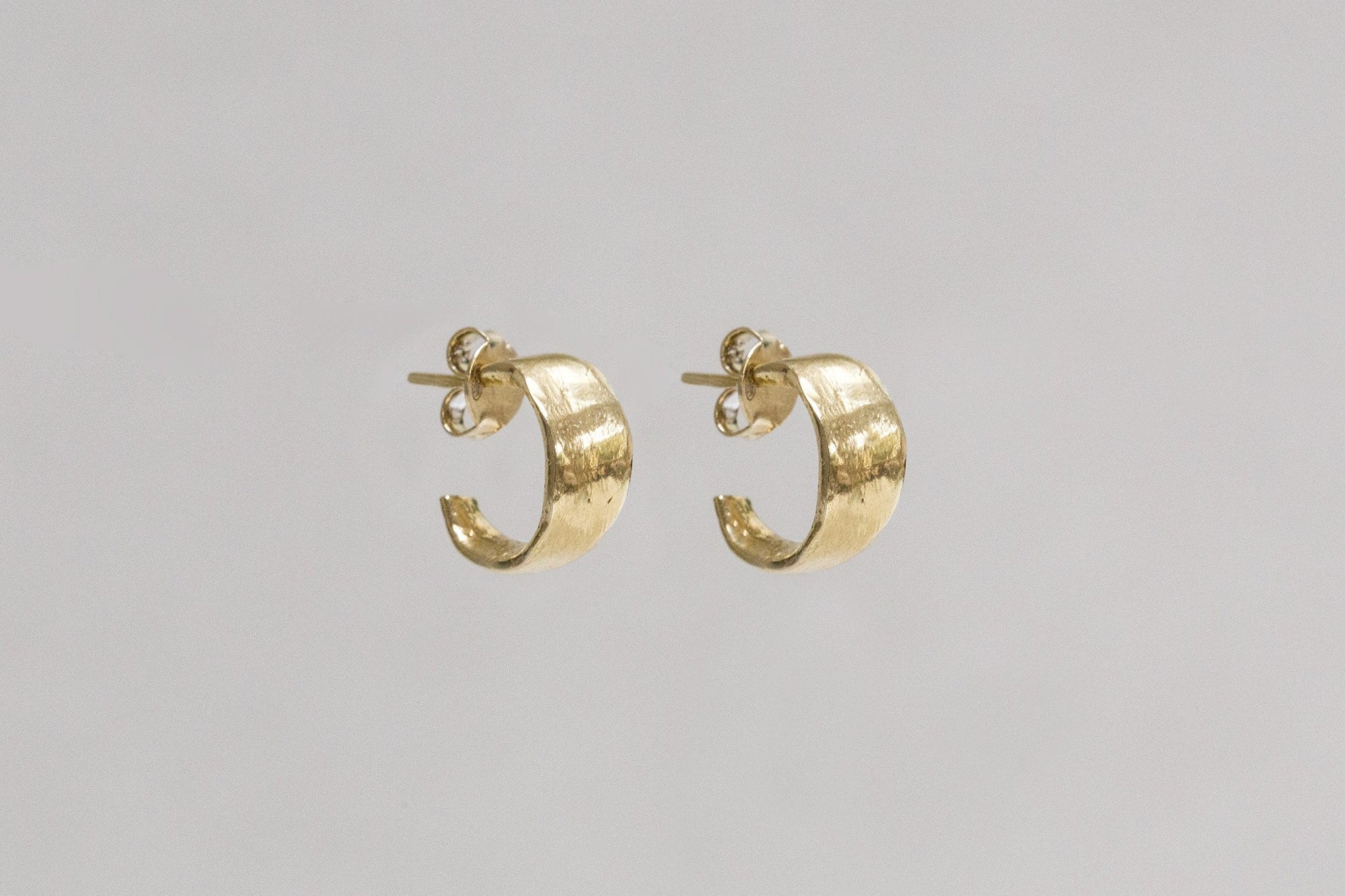 Karen Hallam gold plated silver irregular flat little hoops