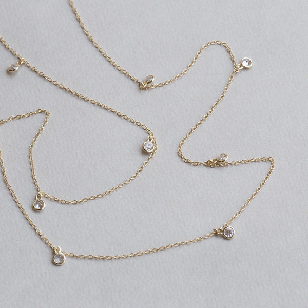 delicate crystal drops station necklace