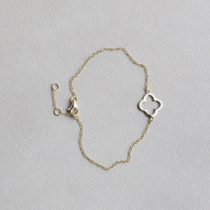 gold plated silver four leaf clover bracelet