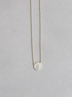 felt gold plated silver matte disc necklace