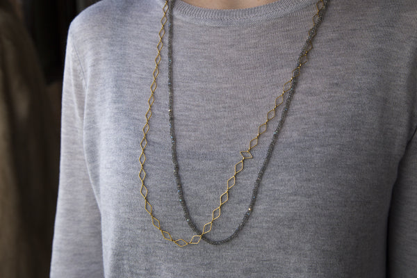 labradorite necklace on a model, paired with Mirabelle rhombus necklace