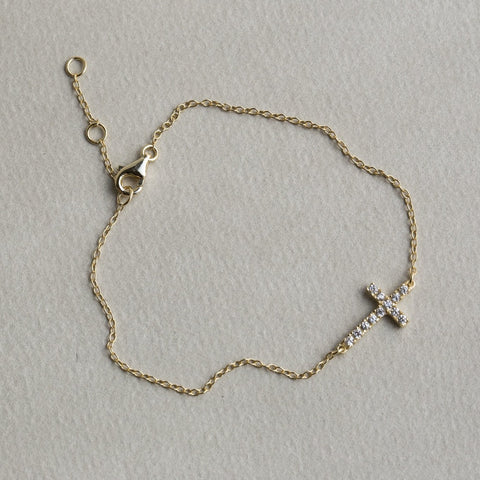 felt cubic zirconia crystal sideways horizontal cross bracelet made of silver gold plated necklace