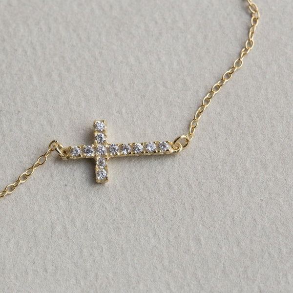 horizontal cross bracelet in detail