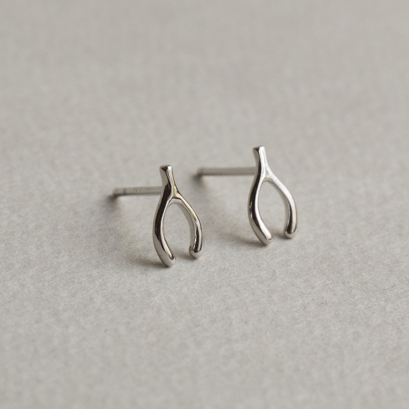 Silver Wishbone Stud Earrings
