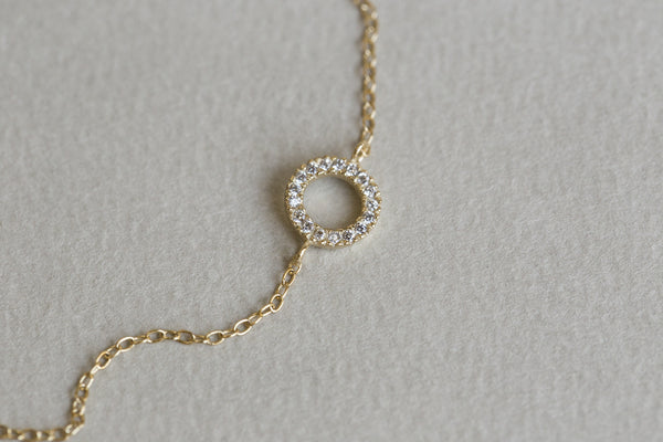 adorable crystal circle on a delicate chain - perfect bracelet for layering