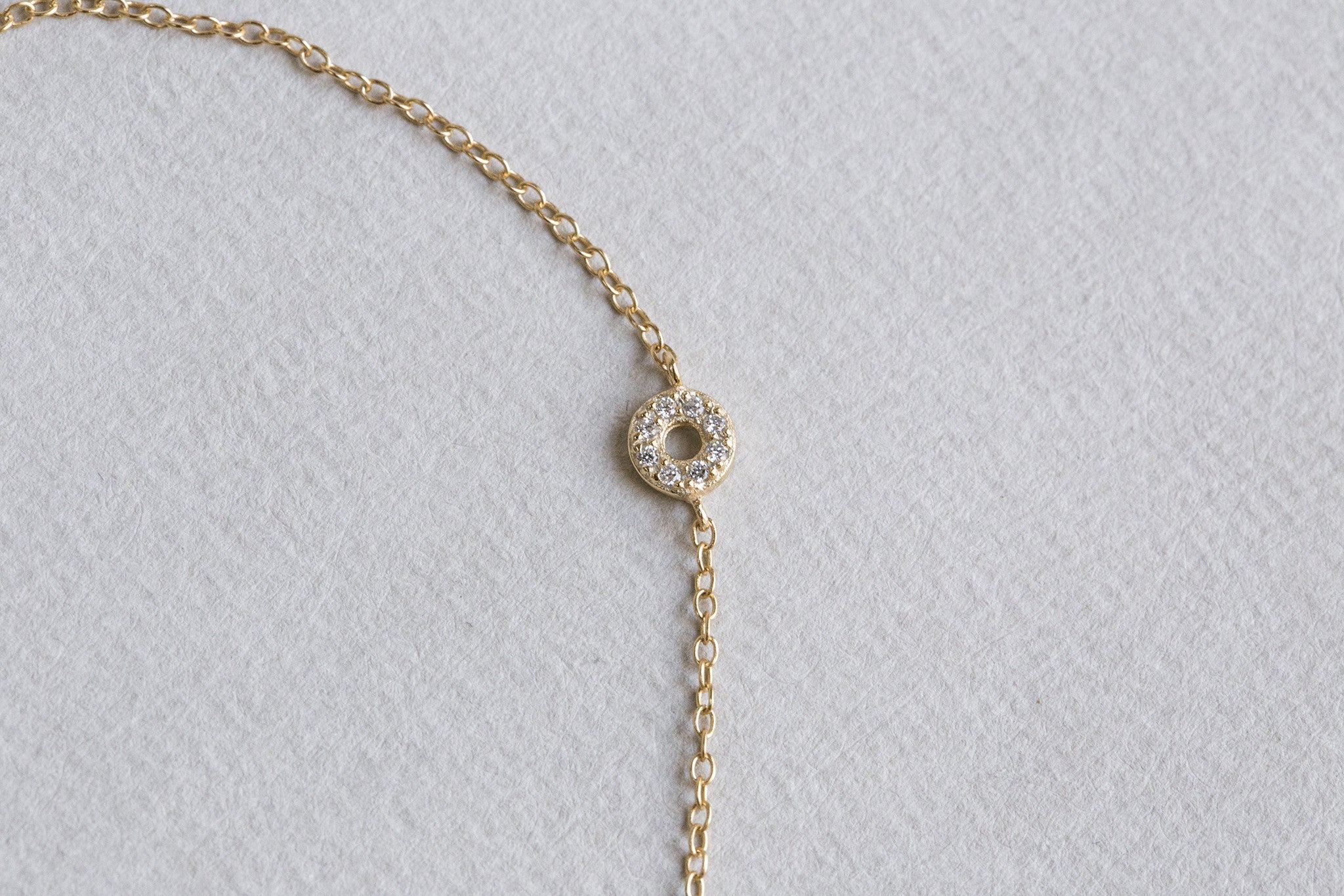 sweet little crystal circle bracelet on a gold plated silver chain