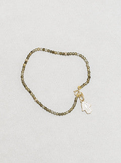 felt gold plated silver hamsa hand charm with cubic zirconia and tiny labraborite bead braceletlabrad
