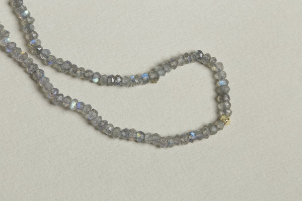 long iridescent  necklace made of multi faceted labradorite beads