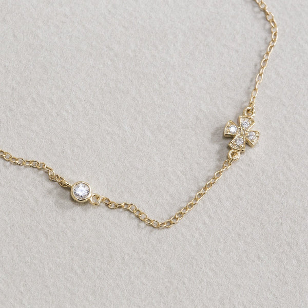 made of gold plated silver and cubic zirconia this bracelet is a good budget gift!