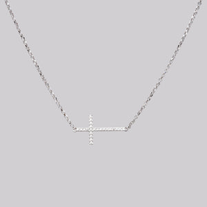 Sideway Diamond Cross Necklace