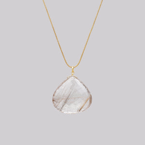 9ct Gold Chain Necklace with Rutilated Quartz