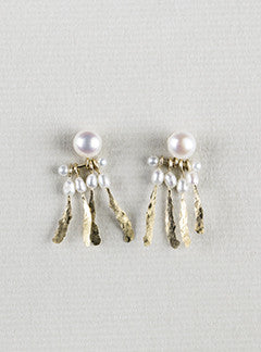 Michelle Oh gold and Pearl Dream Catcher Earrings