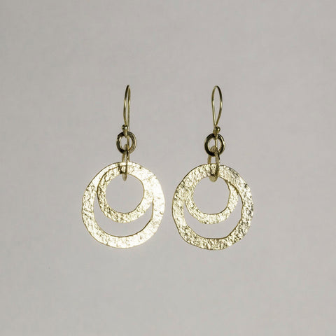 Mirabelle Gold Plated Silver Textured Double Circle Drop Earrings