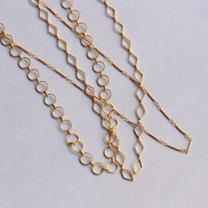 Mirabelle's chain collection - rhombus, round and barrel chains - all available on feltlondon.com