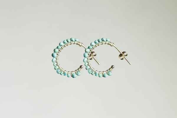 gorgeous real turquoise and gold hoops, handmade in UK