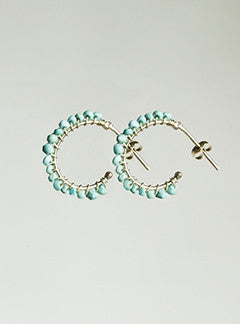 Molo Turquoise Threaded Gold Hoops