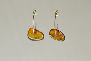 Fine Gold Hoops with Oragnic Amber