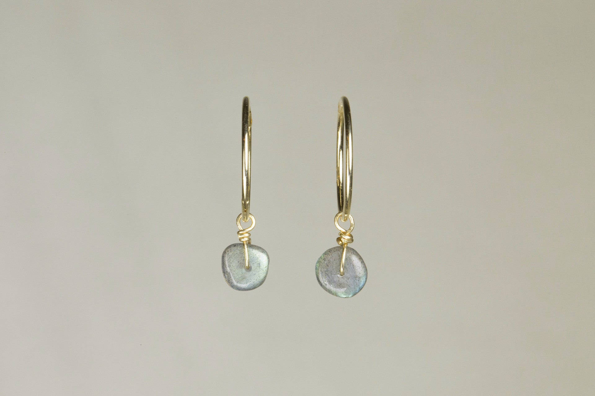 lovely labradorite charms on real gold sleepers