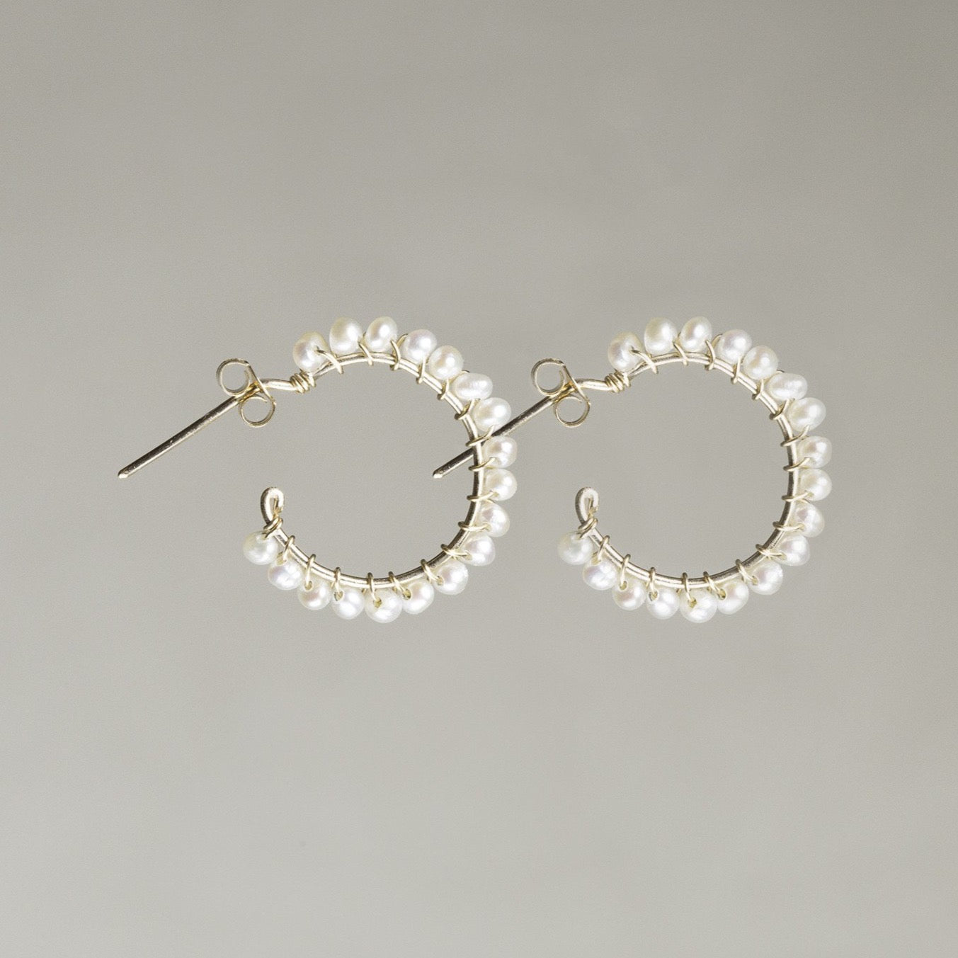 Large Pearl Aga Hoops