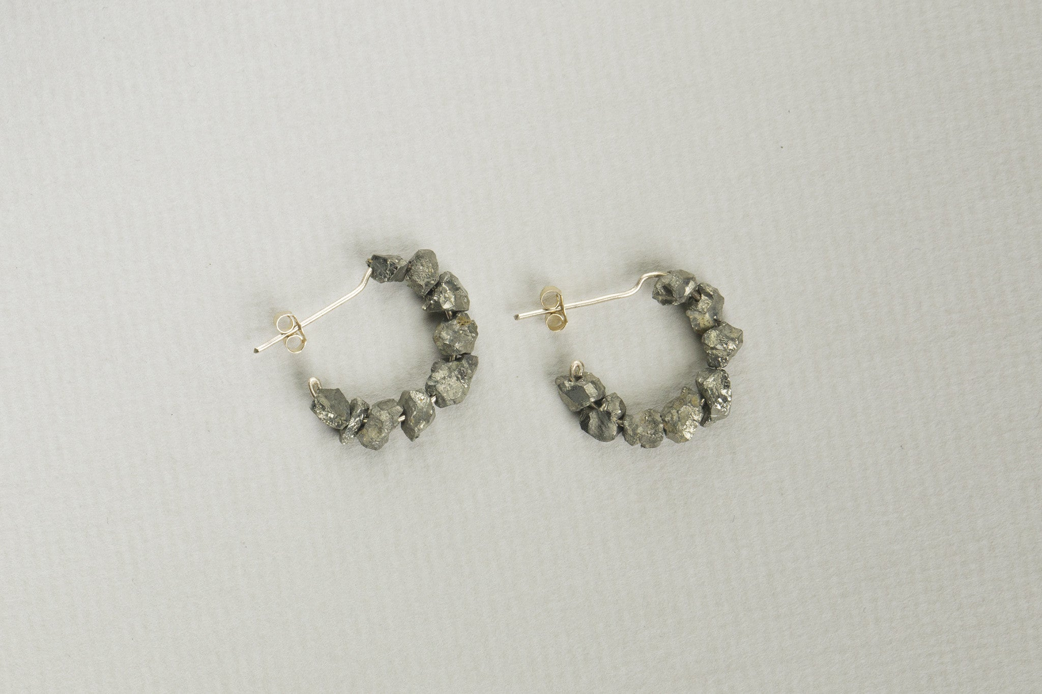 Mama Ania Rough Iron Pyrite Gold Hoops