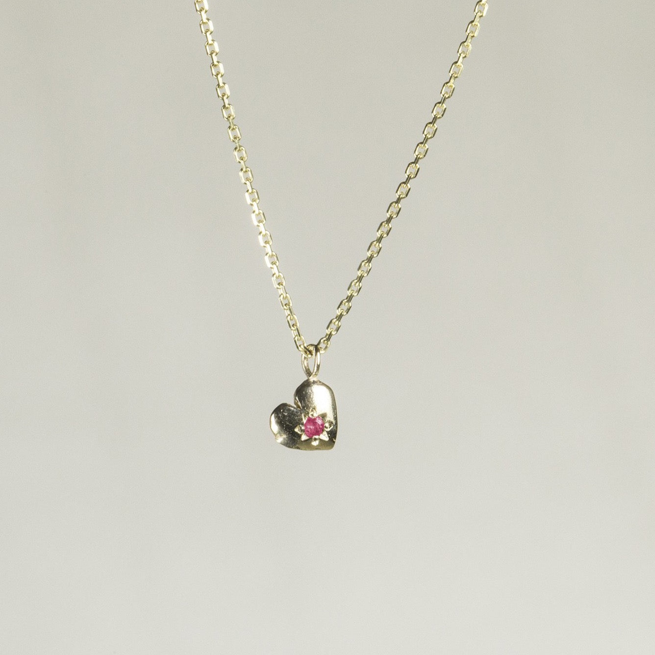 Tiny Heart Necklace with Ruby