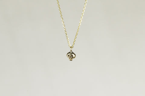 Momocreatura Micro Skull Necklace in Gold