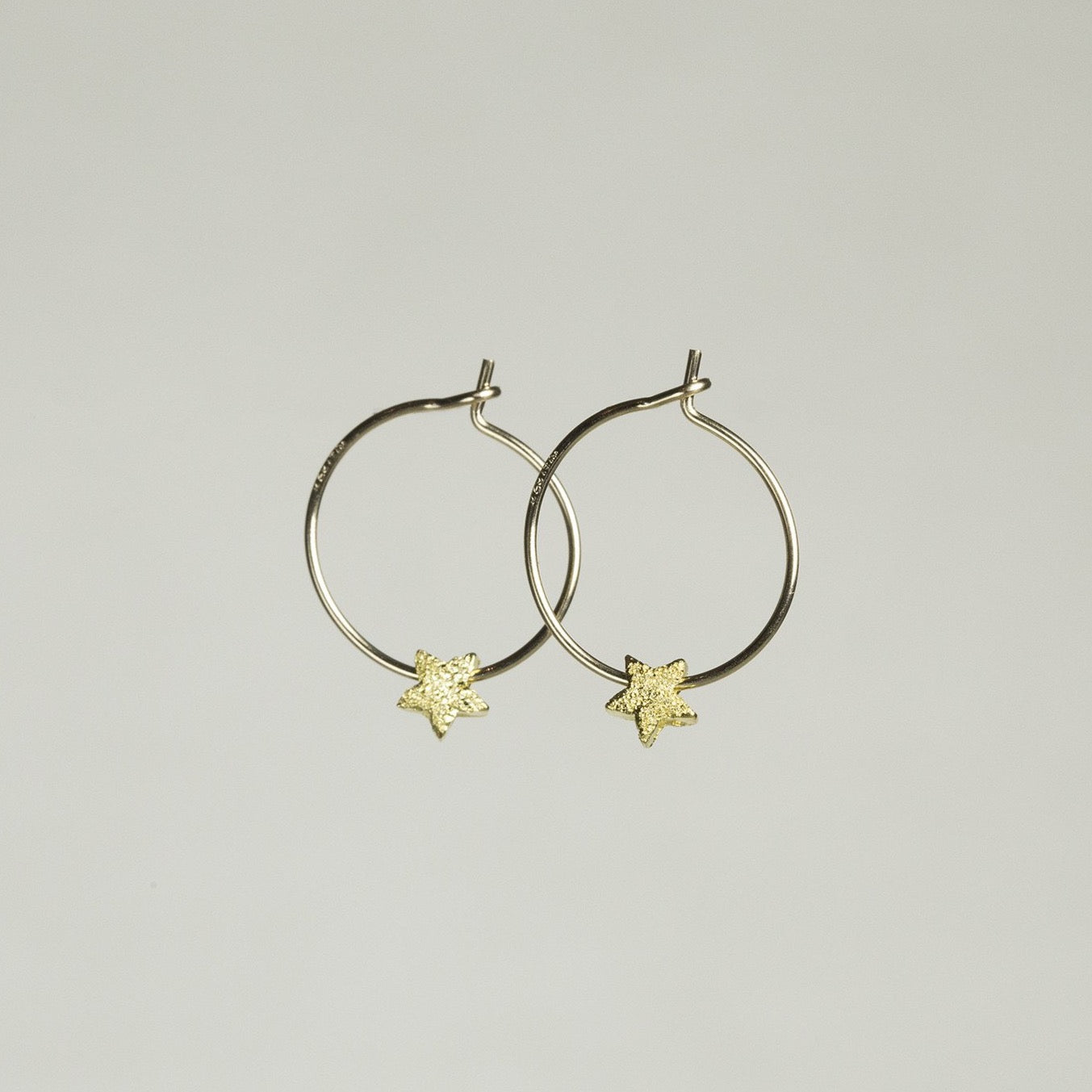 Gold plated star bead hoop earrings