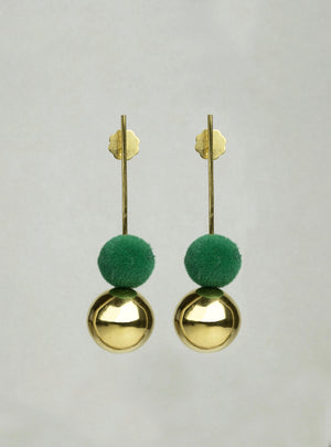 Drop Earrings with Gold Orb and Green Pompom