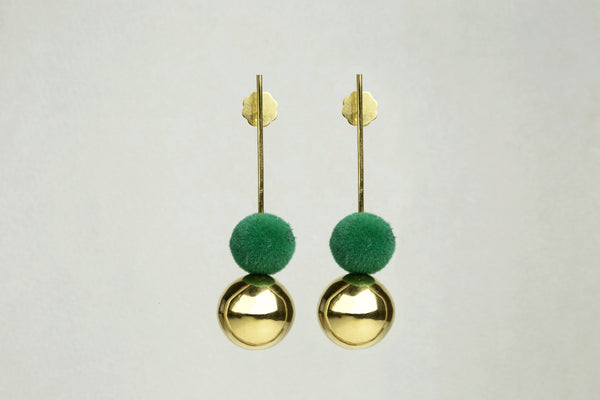 Drop Earrings with Gold Orb and Green Pompom by the same designer also available