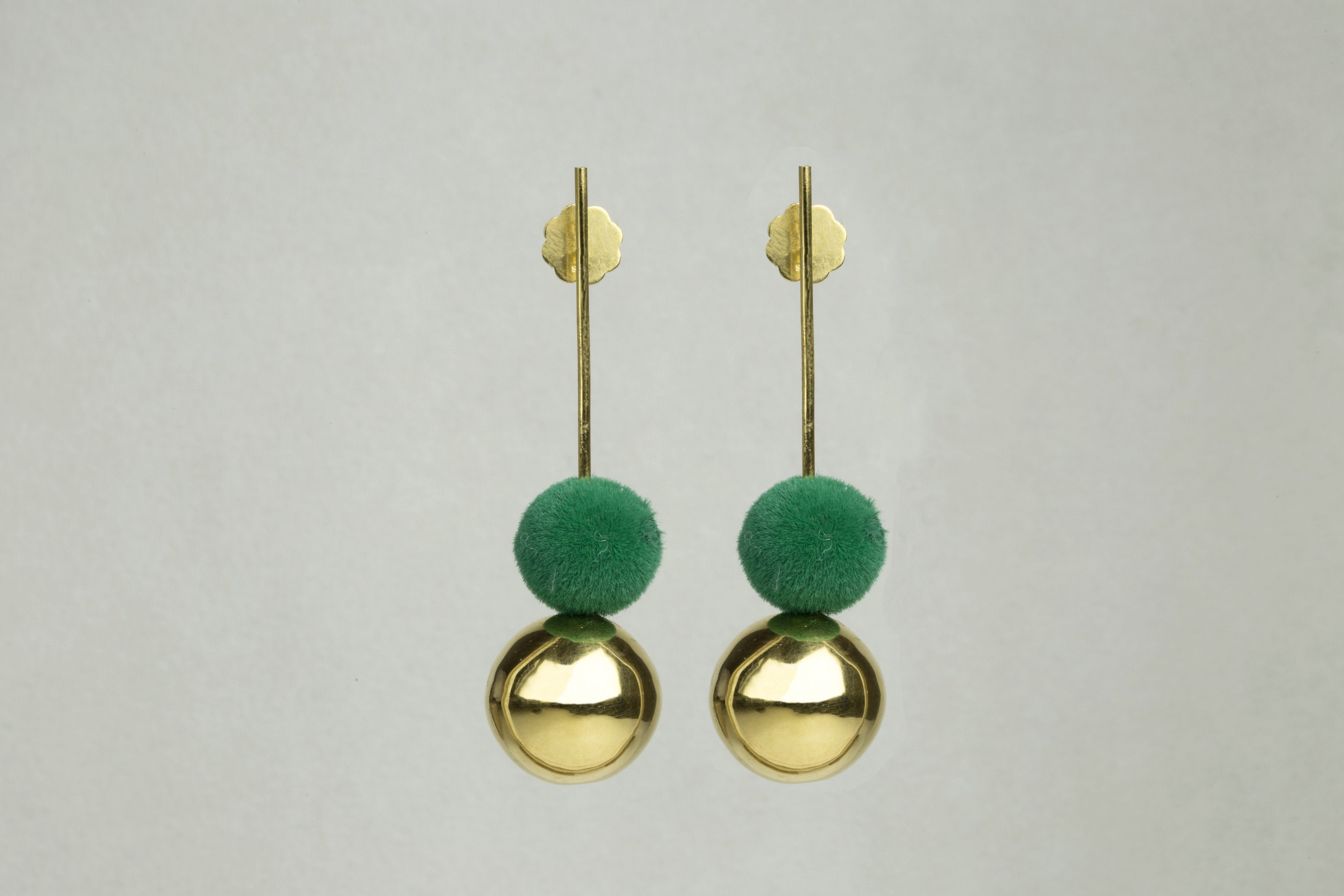 Pompom Earrings with Green Flocking also available on feltlondon.com