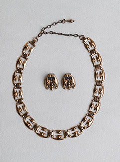 Renoir 1950's Copper Necklace and Clip On Earrings Set