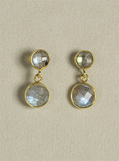 Rodgers and rodgers double abradorite drop earrings in gold plated silver