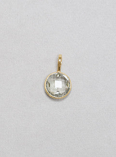 Rodgers and Rodgers faceted green amethyst and gold plated silver bezel charm pendant