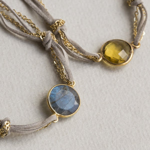 real stones - labradorite and lemon quartz set in gold plated bezel setting