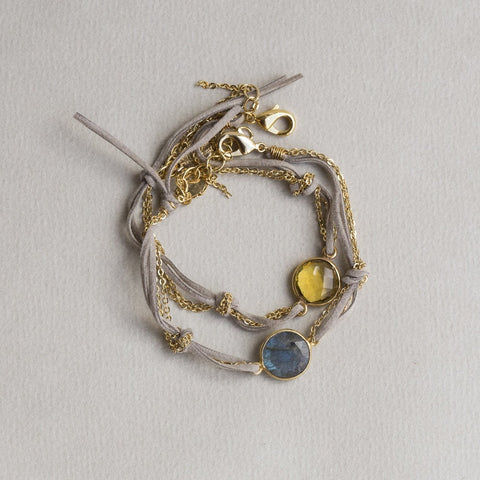Sogoli faux leather stripes mixed with chain boho labradorite and lemony quartz bracelets