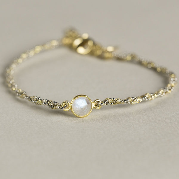 a moonstone version of the textile bracelets