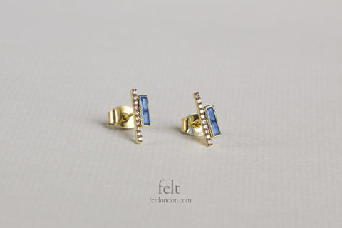 Blue and Champagne Parallel Bar Stud Earrings