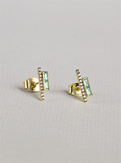 Tai Green and Champagne Parallel Bar Stud Earrings