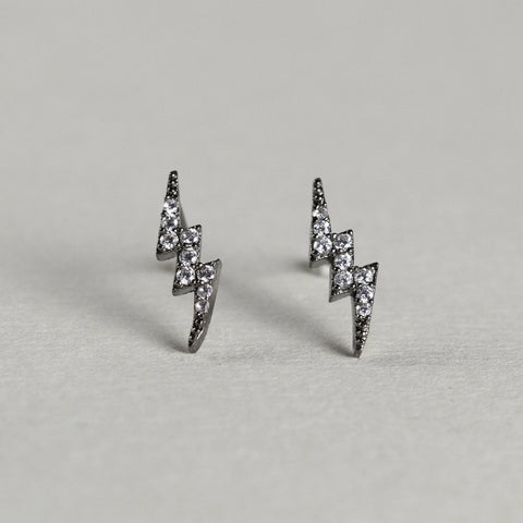 silver chrome plated lightning bolts with cubic zirconia