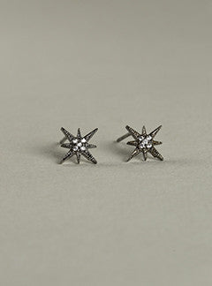 Tai Satrburst stud earrings in chrome plated silver with cubic zirconias