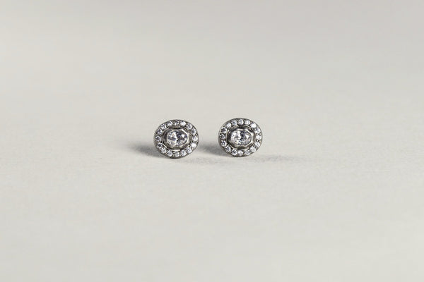 classic with a twist - copy of vintage Indian earrings with rose cut cubic zirconia in the middle