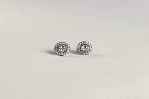 Tai silver classic oval studs with rose cut stone from felt