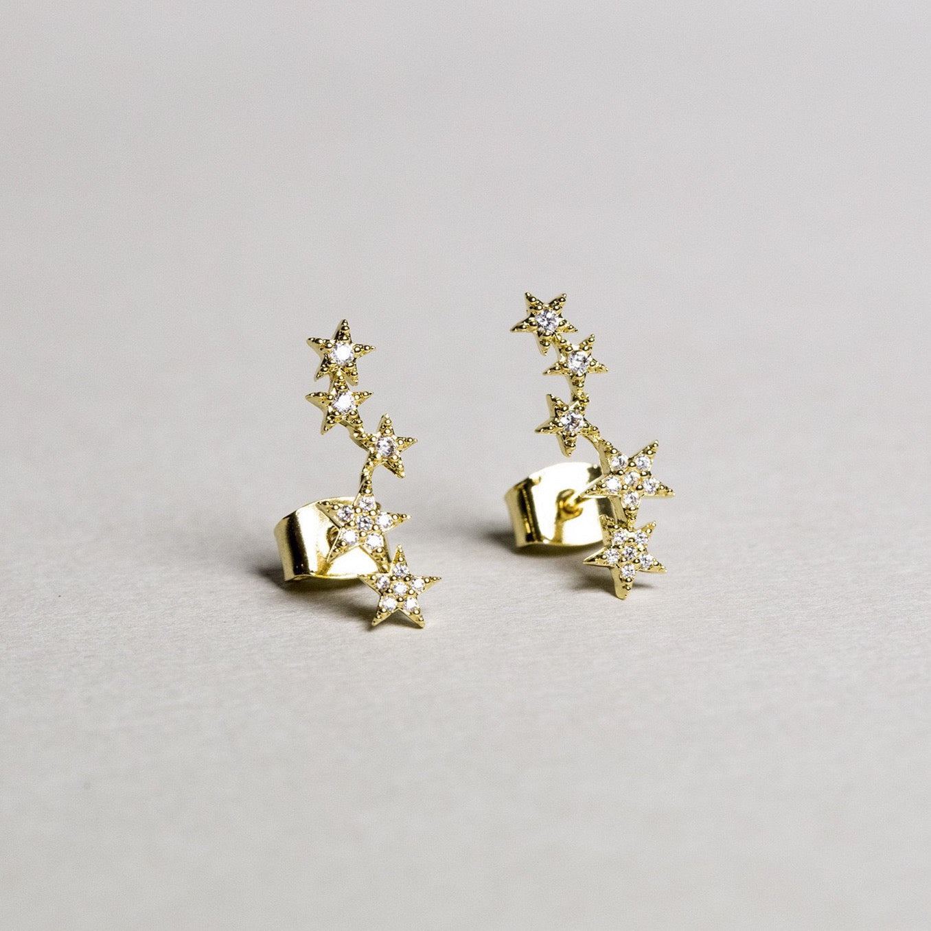 gold plated silver star tower stud earrings