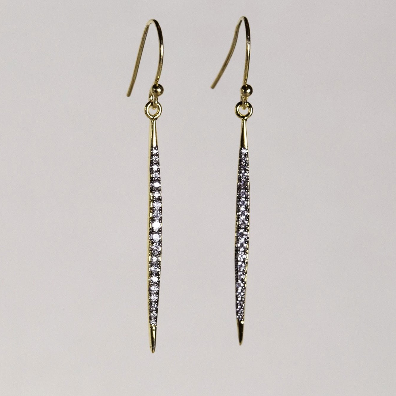 Tai fancy crystal bar drop earring in gold plated silver and cubic zirconia